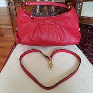 COACH F19761 Ashley Red Leather Pleated Hobo Sling